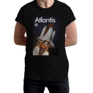 Camiseta Unissex Preta – 100% Algodão –  Space Shuttle Atlantis